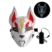 10 Colors Fox Full Face Neon Mask Light Led Mask Halloween Party Masque Masks Glow In The Dark Horror Mask Glowing Masker Purge glow in the dark halloween jason damaged face mask green