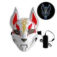 10 couleurs renard visage complet néon Masque lumière Masque LED Halloween fête Masque masques lueur dans le noir horreur Masque brillant Masker Purge