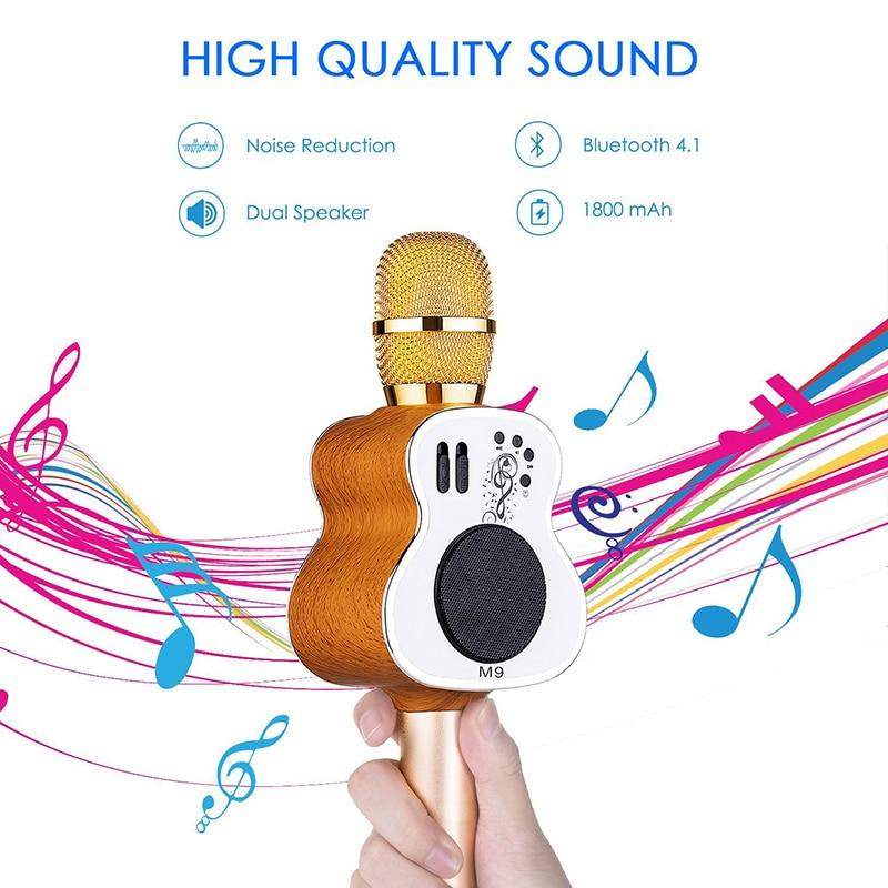 M9 Guitare mikrofon De Poche Bluetooth micro karaoké sans fil Téléphone Lecteur MICRO Haut-Parleur Enregistrer de La Musique KTV Microfone PK WS858