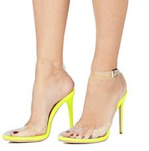 цена Sexy Lemon Yellow Heels Ladies Sandals Pointed Toe Clear PVC Ankle Strap High Heel Shoes Women Cut-out Gladiator Sandals Shoes онлайн в 2017 году