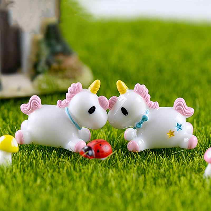 2Pcs Miniatures Unicorns Mini Resin Succulent Bonsai Plant Pots Garden Micro Landscape Home Craft Fairy Decor
