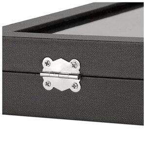 Image 5 - Черная коробка для хранения со стеклянной крышкой и 100 слотами для хранения сережек, колец и украшений, чехол Органайзер