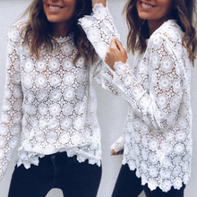 Summer Sexy Loose Casual Chiffon Lace Shirts Women White Blouse Floral Embroider
