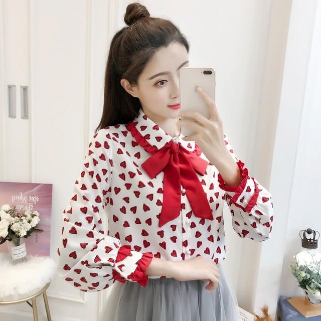 2019 New Spring Women Shirts Bow Full Sleeve Print Love Base Blouse Shirt White Black 0652
