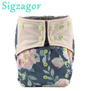 [Sigzagor]Charcoal Bamboo Baby Cloth Diaper Nappy Washable Reusable,Double Gusset,Square Tabs,44 Choice,3-15kg 8-36lbs NO INSERT(China)