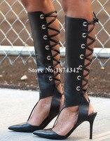 Модные пикантные черные высокие женские сапоги с острым носком на тонком высоком каблуке с перекрестной шнуровкой, Размеры 35 43, весна лето