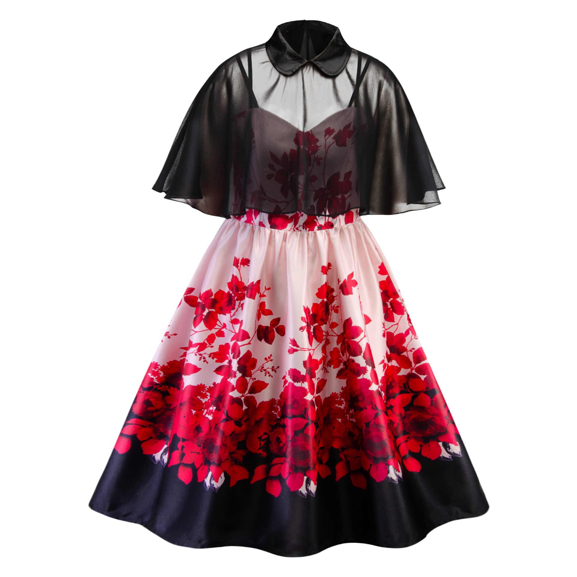 Wipalo/женское платье больших размеров 5XL из двух частей, платье с цветочным принтом, расклешенное платье трапециевидной формы, вечерние платья по колено, весенне-летнее платье в китайском стиле, Vestido
