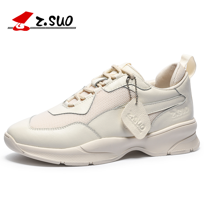 Z SUO Brand ZS725 New Fashion Solid Color Soft Pigskin Breathable Mesh Height Increasing Back Heel