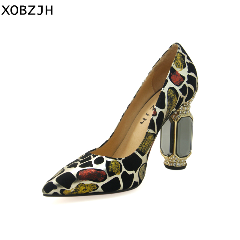 Chaussures de luxe italiennes femme 2019 strass mode dames pompes en cuir véritable Sexy femmes talons hauts chaussures de mariage grande taille 11