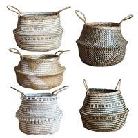 New Foldable Handmade Storage Basket Folding Wicker Rattan Seagrass Belly Straw Garden Flower Pot Planter Laundry Basket