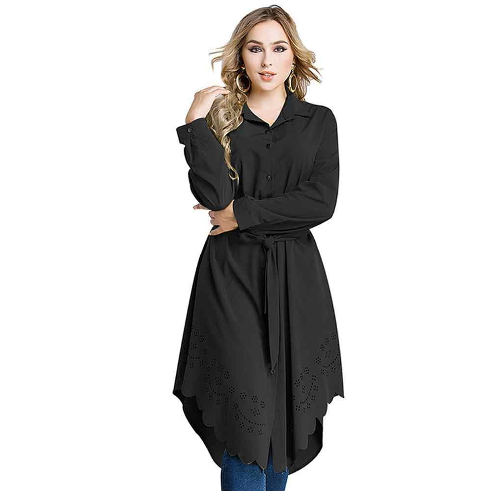 Women Blouse Kaftan Abaya Jilbab Islamic Muslim Cocktail Long Sleeve Shirt Tops