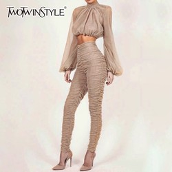 TWOTWINSTYLE Two Piece Sets Female Turtleneck Puff Long Sleeve Crop Tops High Waist Pencil Pants Womens Suits 2019 Spring New