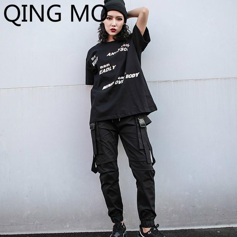QING MO femmes inclinaison lettre impression t-shirt caractère impression à l'arrière avec corde noir blanc coton t-shirt ZQY011