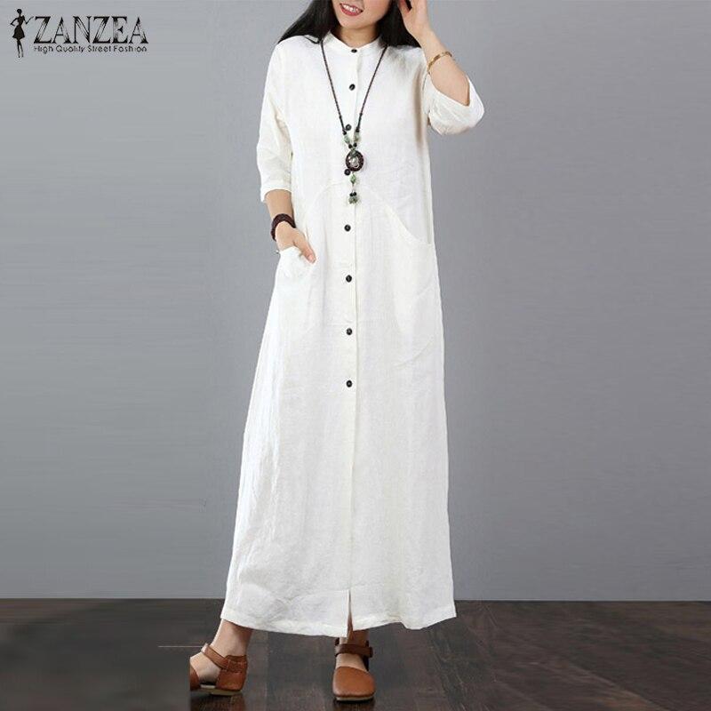 ZANZEA Frauen Lange Maxi Kleid Mandarin Kragen Lange Hemd Kleider Langarm Baumwolle Leinen Vestido Kaftan Taste Up Robe Plus größe