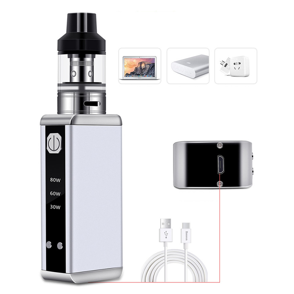 Electronic Cigarette Mod Smoke Pen Hookah 80W Starter Kit 510 Metal Body 2Ml Vaporizador E Cigarettes Vape
