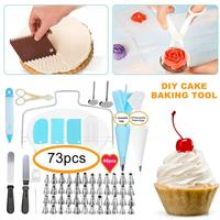73PCS/Set Silicone Pastry Bag Nozzles Tips DIY Icing Piping Cream Reusable Pastry Bags +48 Nozzle Set Cake Tools With scraper