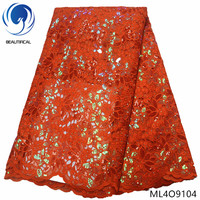 BEAUTIFICAL double organza lace with sequins orange organza lace with beads 5 yards/piece nigerian lace fabrics fabric ML4O91