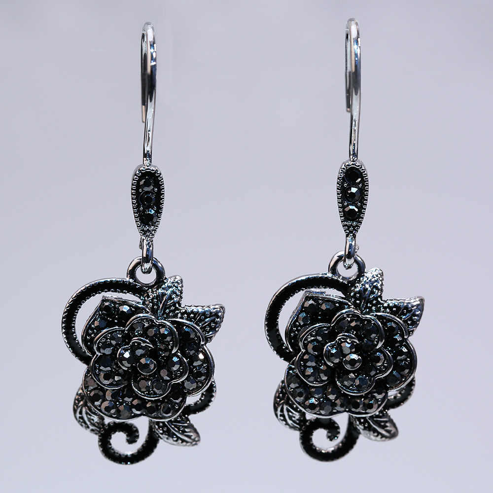 Huitan Vintage Black Rose Women Earrings Classic Pretty Flower Cocktail Party Earrings Luxury Jewelry For ladies New Arrival