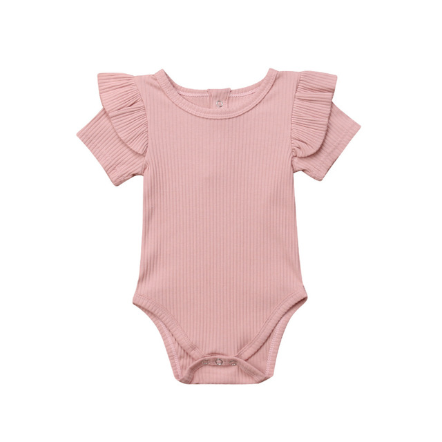Newborn Baby Boy Girl  Solid Short Sleeve  Ruffles Romper  Jumpsuit Outfits Clothes 0-2T