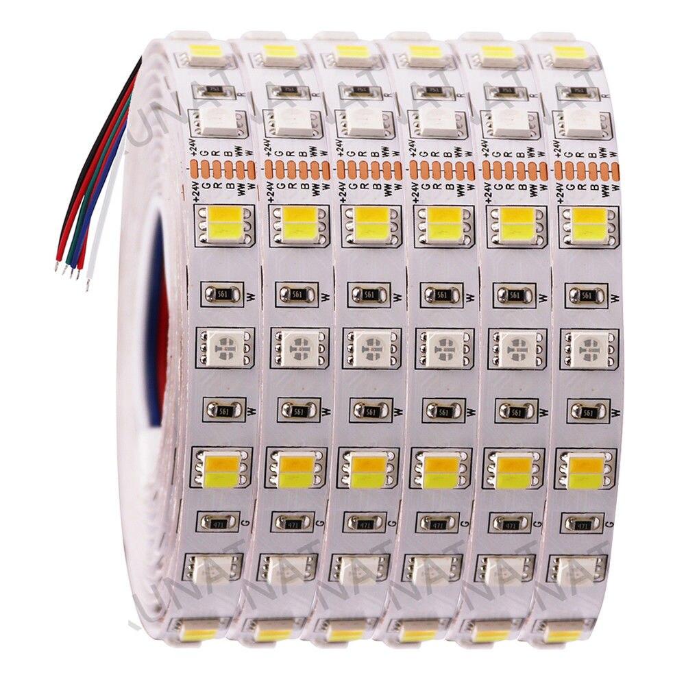 Dc12v 24 v rgb + cct conduziu a luz de tira smd 5050 rgbw rgbww rgb wwa flexível conduziu luzes decorativas 5 m da fita da corda da listra
