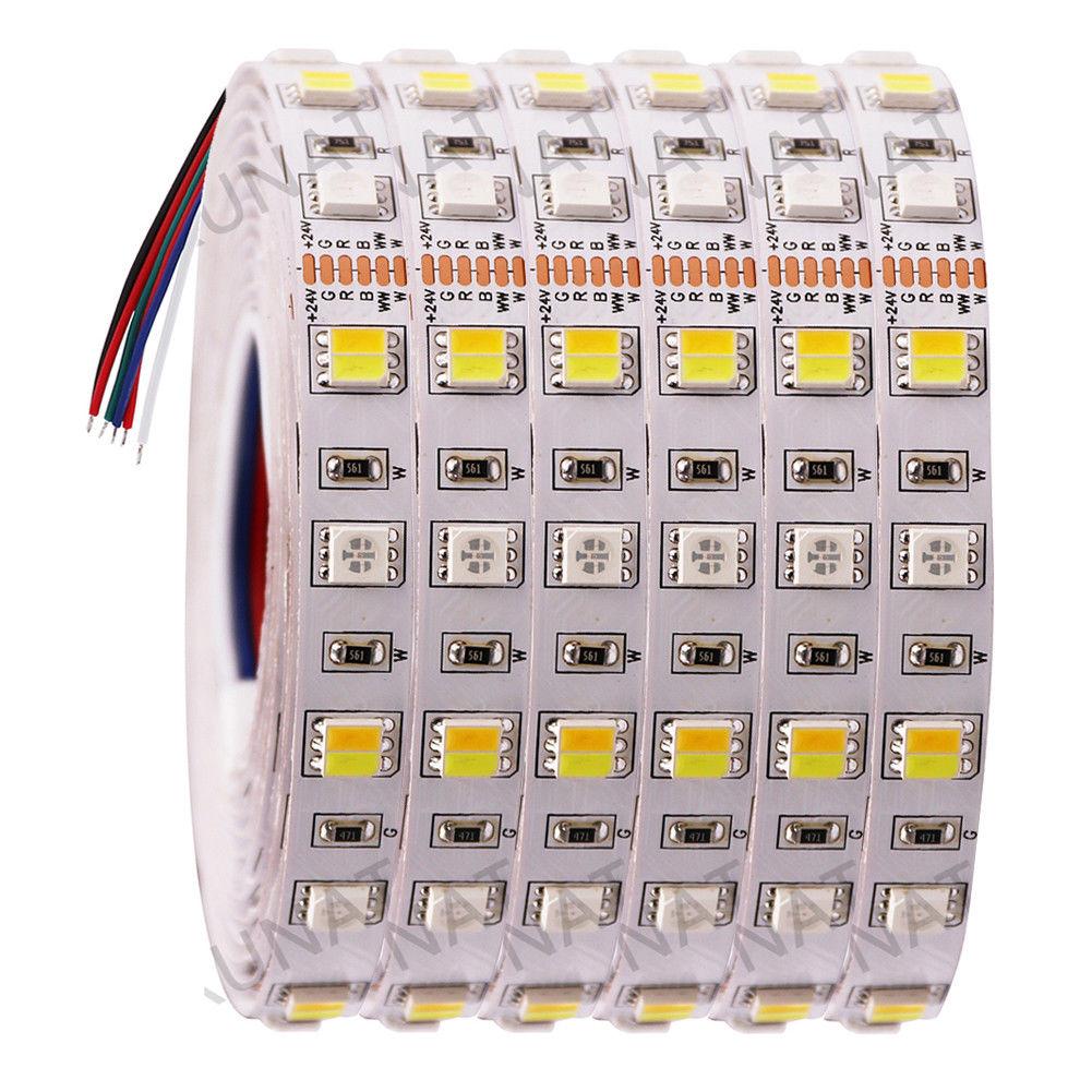 Lumière de bande de LED de DC12V 24V rvb + CCT SMD 5050 RGBW RGBWW RGB WWA LED Flexible bande de corde lumières décoratives 5M