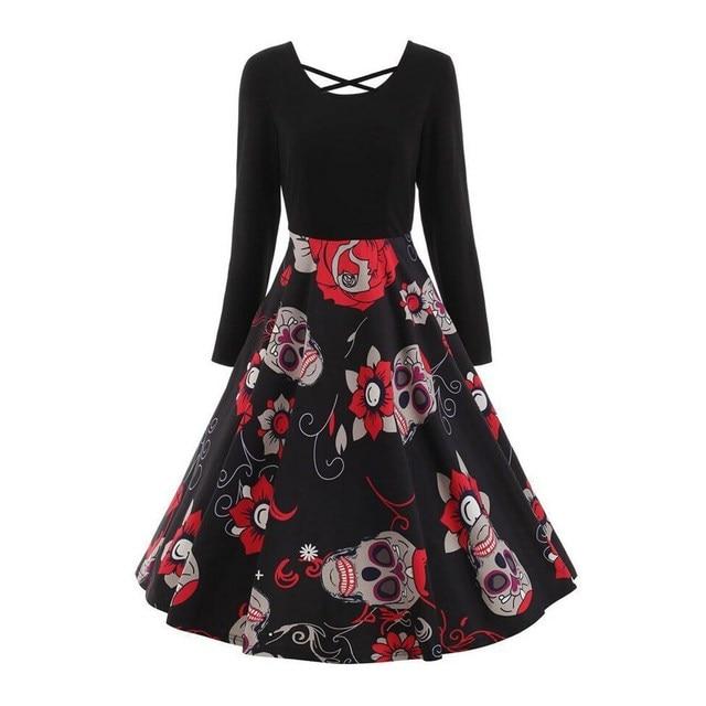 Women A Line Elegant Black Patchwork Fashion Gothic Skull Floral Print Dress
