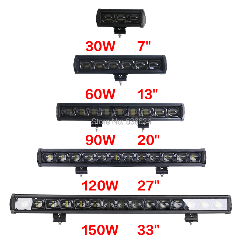 60W 6D Single Row Waterproof Super Spot Bright Offroad Led Projector Light Bar for Off-road 4WD Truck ATV Sand rails, Cars