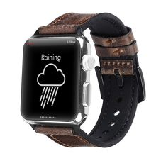 Correa de silicona de cuero para apple watch 44mm series4 3 2 44mm iwatch 38mm 42mm pulsera inteligente accesorios de la muñeca de(China)