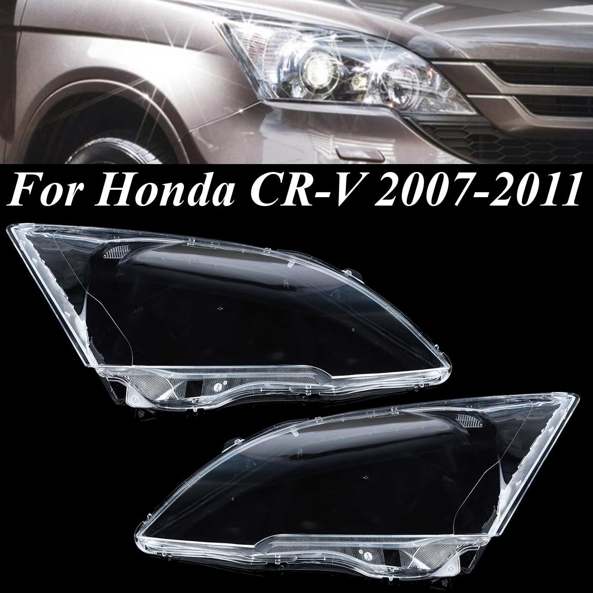 1pcs/2pcs Left & Right Transparent Front Lamp Hood Headlight Lens Shell Cover For Honda CRV 2007 2008 2009 2010 2011