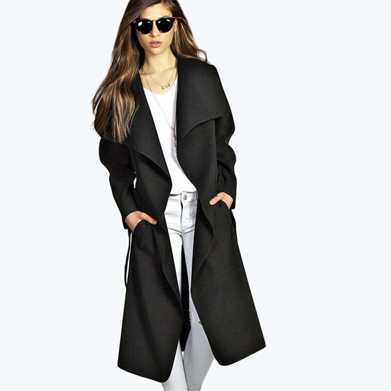 Revestimento Das Mulheres Trincheira outono Outwear Casuais Casaco Feminino Casacos Longos Sólidos Para Senhoras Outono Novo Revestimento Das Mulheres Trincheira Casaco Femme
