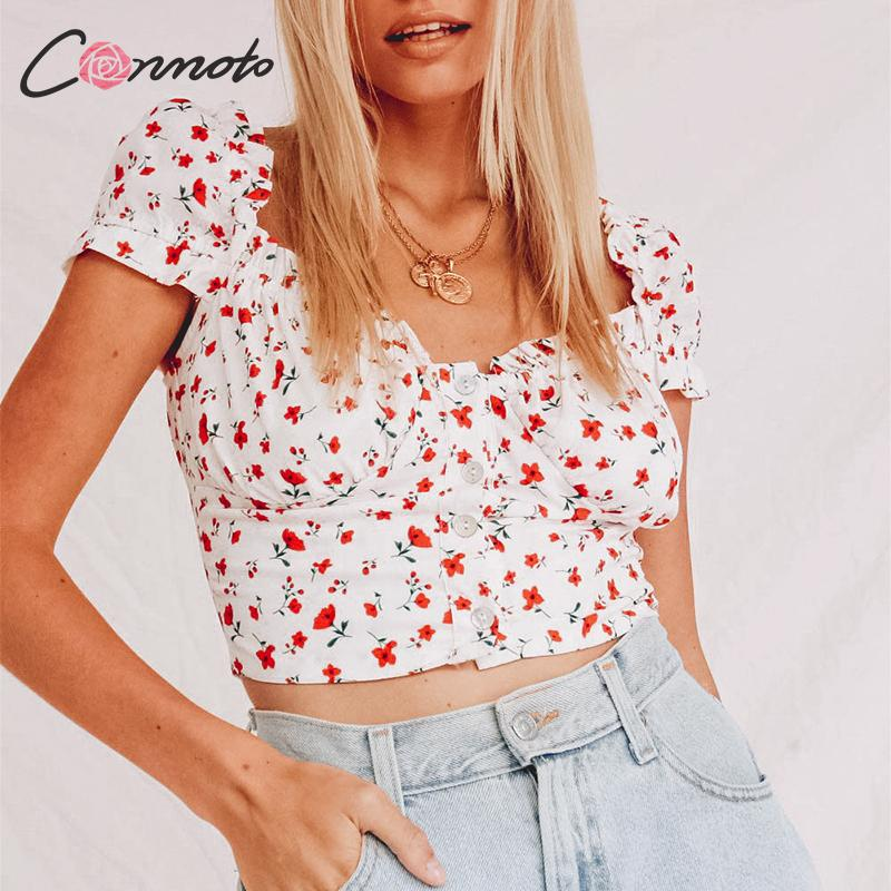 Conmoto White Chiffon Crop   Tops   Women Sexy Ruffle Floral Print   Tank     Top   Summer Boho Beach Vintage Ladies   Tops   Camisa Mujer