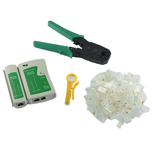 Ağ Ethernet LAN Kiti 4 in 1 Kablo Test Cihazı + Sıkma Pense Crimper + Tel Stripper + 100x Rj45 Cat5 cat5e Connector Plug Netw