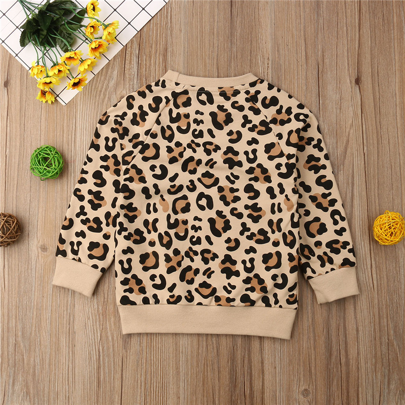 Toddler Kids Baby Girl Boy Clothes Long Sleeve Leopard Tops T-Shirt Outfits 1-7Y