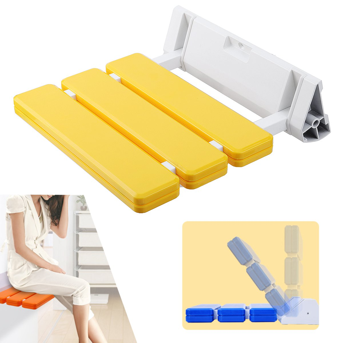 Foldaway Bathroom Wall Mounted Shower Seat Chair Aluminium Alloy Elderly Disabled Mobility Aid Solid Spa Stool Fixture Yellow