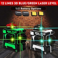 12 Line Green/Blue Laser Level with 1/2 Battery 638nm/808nm 3D 360 Degree Rotation Self Leveling Horizontal Vertical Laser Beam