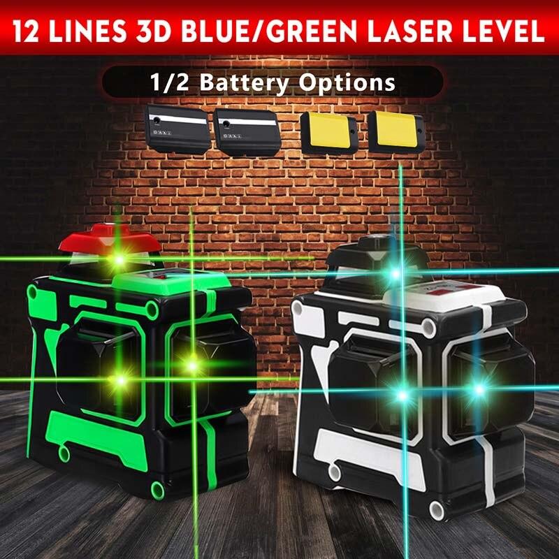 Niveau Laser vert/bleu 12 lignes avec batterie 1/2 638nm/808nm 3D 360 degrés Rotation faisceau Laser Vertical Horizontal auto-nivelant