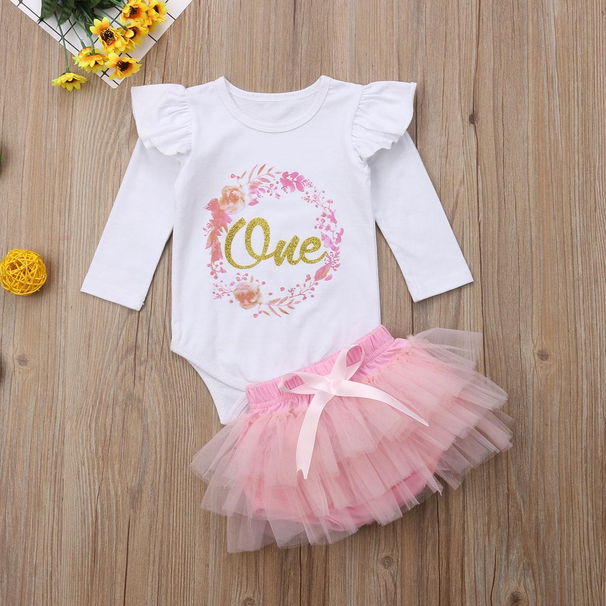 4PCS Baby Girl 1st Birthday Outfits Tutu Romper Skirt Princess Dress Photo Props