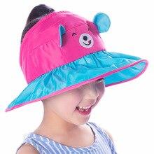 Nuovo Modello di Estate Tesa larga Cappello Del Sole Della Spiaggia Per I  Bambini Protezione UV Femminile Cap Con La Testa Grand. 9eb4f4a0bad8