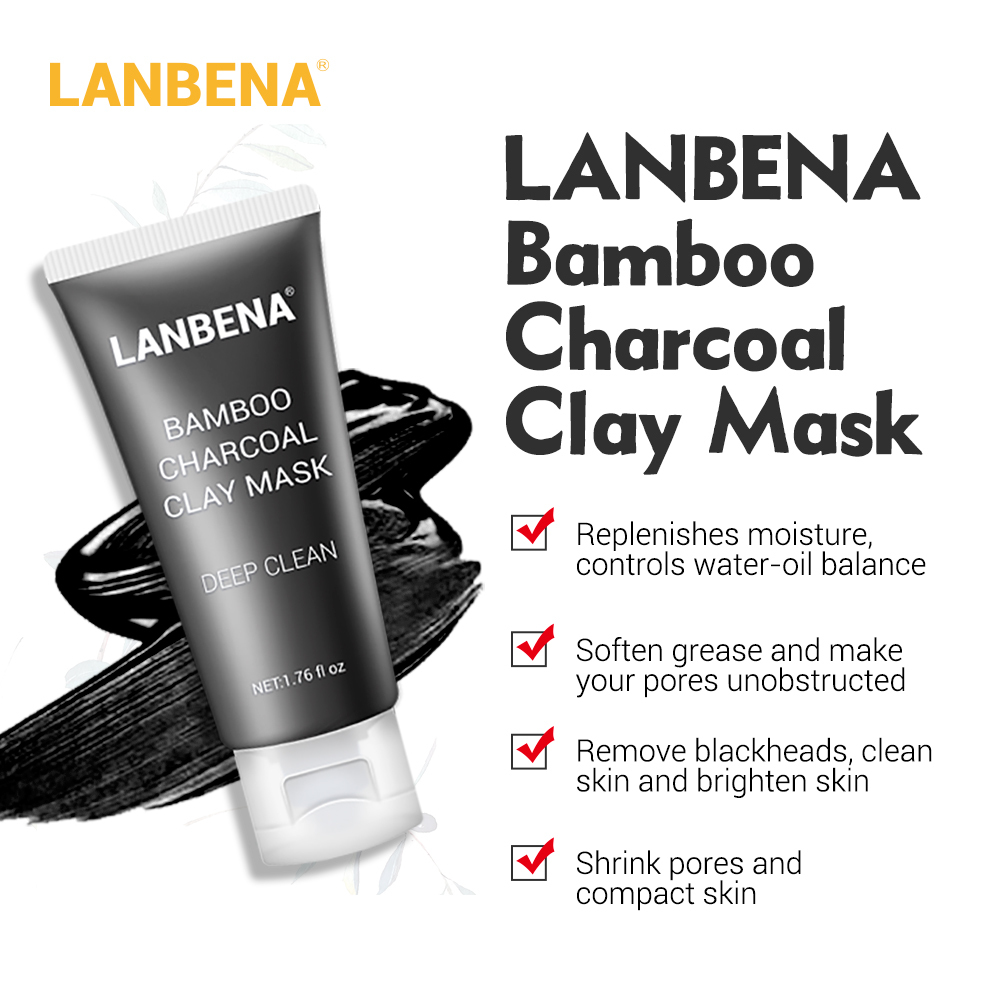 Lanbena Bamboo Charcoal Clay Face Mask Remove Blackheads Grease Clean Pores Deep Cleaning Oil Controlling Firming Nourishing