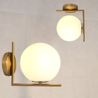Post Modern Sconce Lights Frosted Glass Ball led Wall Light Fixture Bronze Interior Designer Wall Lamp For Bedroom Living Room