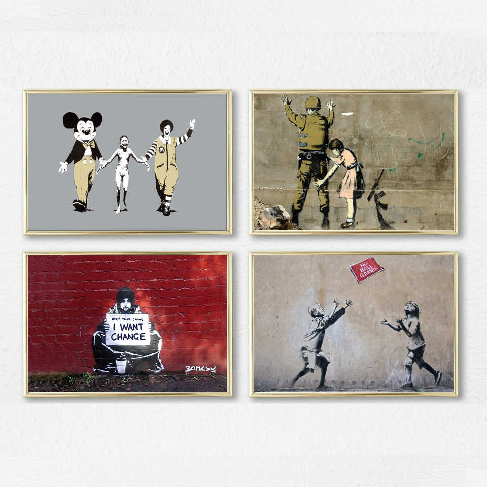Banksy Canvas Art Banksy Graffiti Canvas Art Prints Paintings Wall Framed Art Poster Pop Decoration Pictures Canvas Photo For Bedroom Home Decor