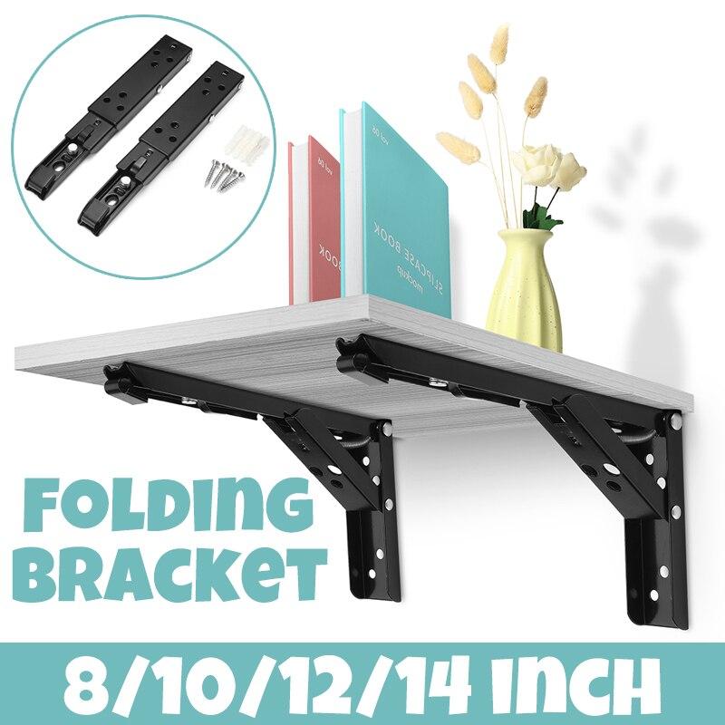 2 Pcs Folding Shelf Brackets Wall Shelf Metal Duty Triangle Table Bench Support