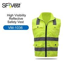 Colete de segurança reflexivo refletor, multi bolsos, roupas de trabalho para segurança de trabalho, dia e noite, ciclismo, aviso de segurança