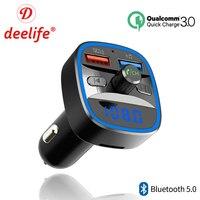 Deelife Bluetooth 5,0 Fm передатчик автомобильный комплект громкой связи Беспроводной Авто MP3 плеер Quick Charge QC3.0 USB Зарядное Устройство Радио модулятор