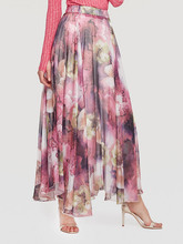 цена 2019 Plus Size Women Skirt Bohemian Beach Wear Women Voile Skirt Printed Milk Silk Femme Maxi Skirt Casual Loose Chiffon Skirt