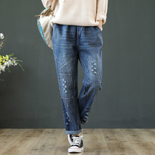 Vintage Embroidery Jeans Women Blue Elastic Waist Casual Loose Harem Denim Pants Spring Ripped Hole Trousers Plus Size 3XL women summer loose large size jeans 2017 high quality embroidery ripped denim trousers fashion elastic waist slim type pants