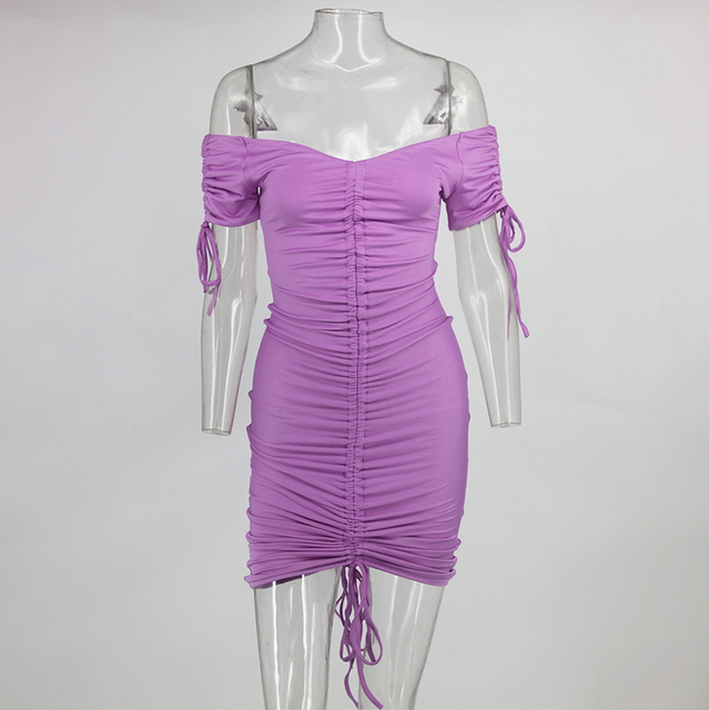 Ruched bandage short purple dress