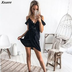 Xnxee seksowna biała sukienka na szelkach odzież damska lato kleider krótka sukienka sukienka moda backless patchwork vestidos jurken 2