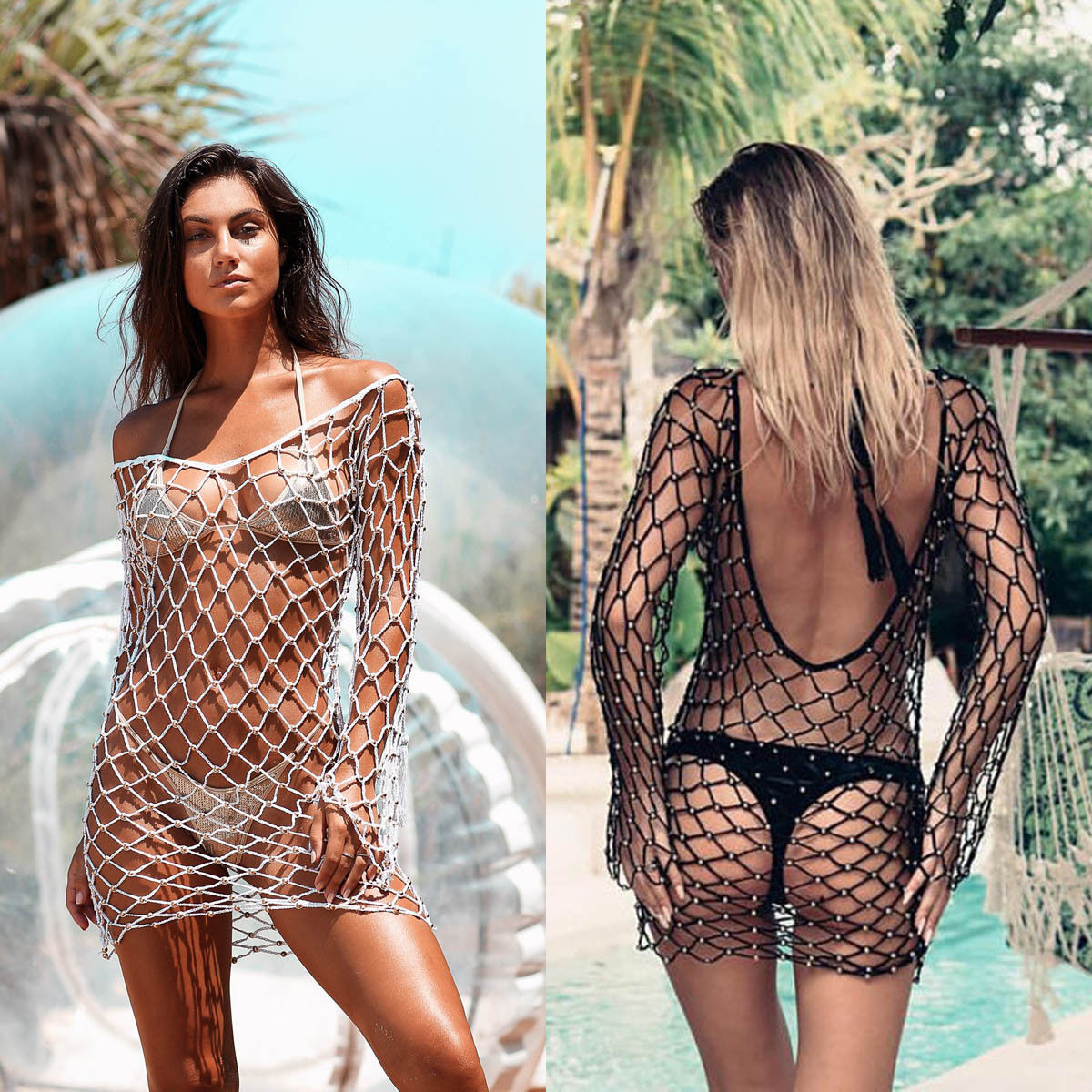0165c5617c Holiday Women Fishnet Mesh Pearl Bikini Cover Up Bathing Summer Beach  Swimwear Swimsuit Transparent Hollow Out Lace up Cover ups