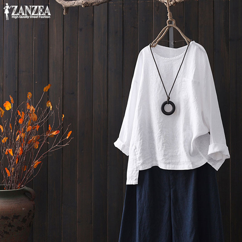 ZANZEA Blouse Women Casaul Loose Shirt Ladies Elegant Solid Office Tops Vintage Loose One Pockets Blusa Feminina Plus Size 5XL